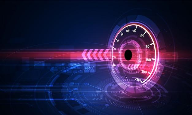 Fondo de movimiento de velocidad con coche velocímetro rápido