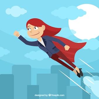 Fondo de mujer de negocios con capa de superhéroe