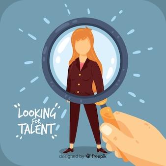 Fondo mujer plana búsqueda de talento