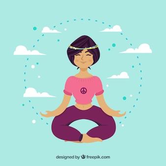 Fondo mujer practicando meditación y mindfulness