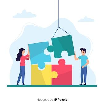 Fondo mujeres conectando piezas de puzzle