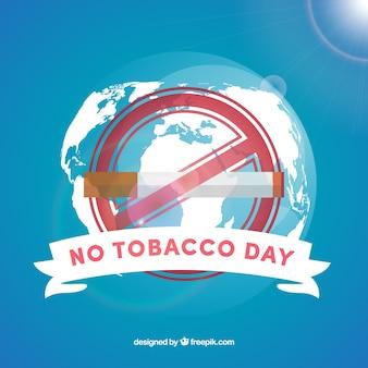 Fondo de mundo y cigarro del día libre de tabaco
