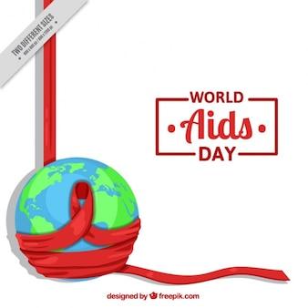 Fondo de mundo con cinta roja por el día mundial del sida