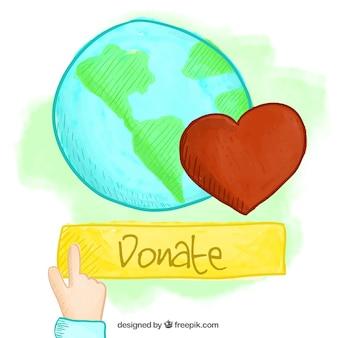 Fondo de mundo y corazón pintado a mano