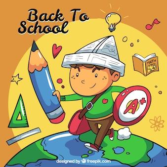Fondo de mundo imaginario con niño y elementos de colegio