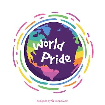Fondo de mundo con líneas coloridas