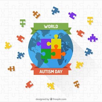 Fondo de mundo con puzzle de colores