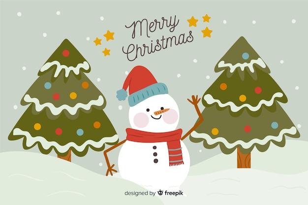 Fondo de muñeco de nieve de navidad dibujado a mano