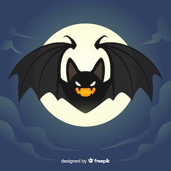 Fondo de murciélago de halloween en diseño plano