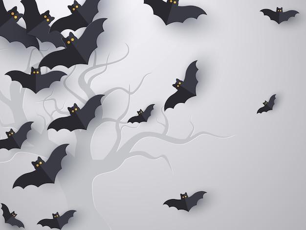 Fondo de murciélagos voladores con espacio de copia. estilo de corte de papel 3d. fondo gris con silueta de árbol para la fiesta de halloween. ilustración vectorial.