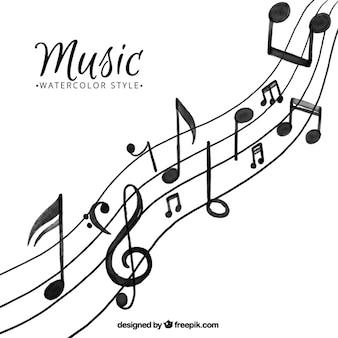 Fondo de música de acuarela
