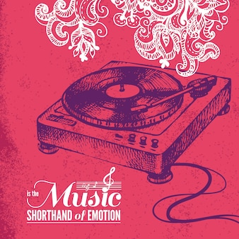 Fondo de música. ilustración dibujada a mano y diseño de tipografía.