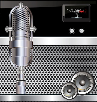 Fondo de música con micrófono viejo
