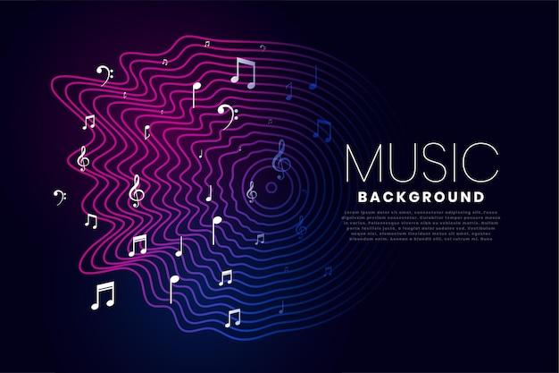 Fondo de música con ondas de sonido y notas.