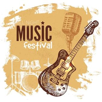 Fondo de música vintage. splash blob diseño retro. cartel del festival de música. ilustración de vector de boceto dibujado a mano
