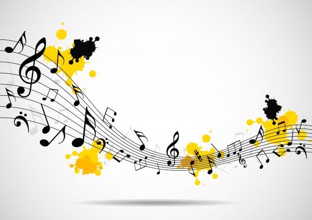 Fondo musical abstracto con notas