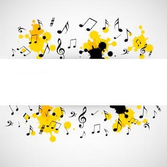 Fondo musical abstracto con signo en blanco