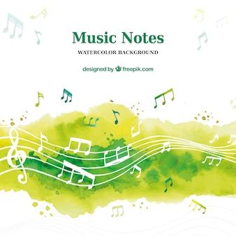 Fondo musical en acuarela