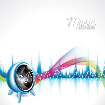 Fondo musical con ondas sonoras multicolor