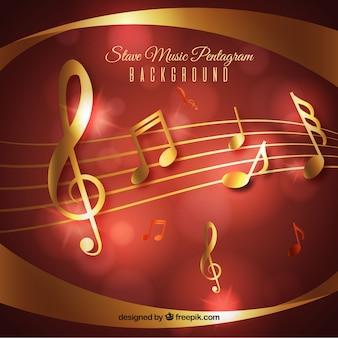 Fondo musical rojo y dorado