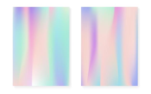Fondo nacarado con degradado holográfico. juego de fundas con hologramas. estilo retro de los 90, 80. plantilla gráfica para cartel, presentación, banner, folleto. conjunto de fondo nacarado de neón.
