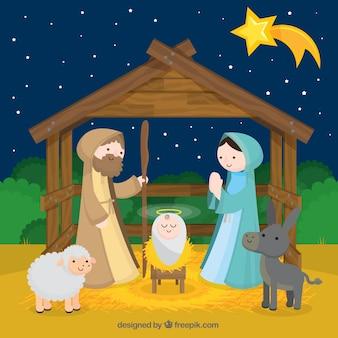 Fondo del nacimiento del niño jesús con estrella fugaz
