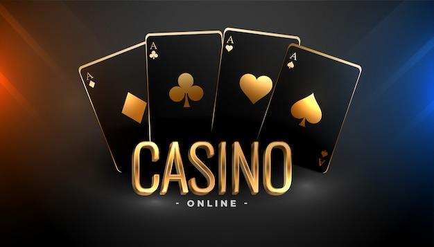 Fondo de naipes de casino negro y oro