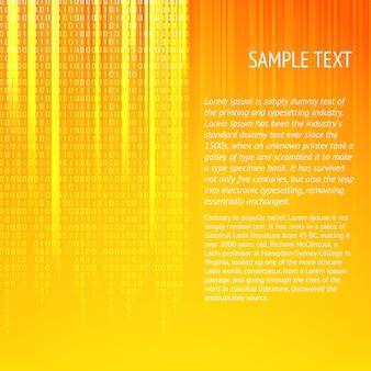 Fondo naranja abstracto con líneas suaves y dígitos. plantilla de texto de muestra