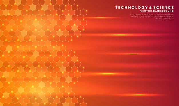 Fondo naranja abstracto de tecnología o ciencia con hexágono