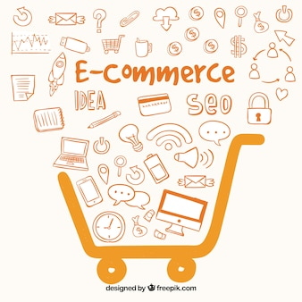Fondo naranja de comercio electrónico