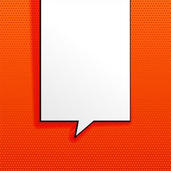 Fondo naranja con burbuja de chat vacía