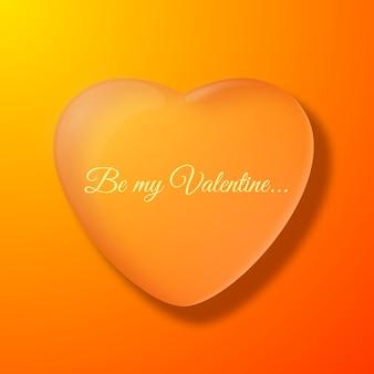 Fondo naranja del día de san valentín con ilustración de vector plano de silueta de corazón grande
