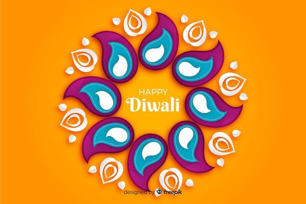 Fondo naranja diwali en papel estilo