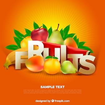 Fondo naranja con frutas en diseño realista