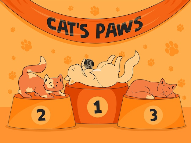 Fondo naranja con graciosos gatos en podios. lugares de patas de gato para lindos gatitos.