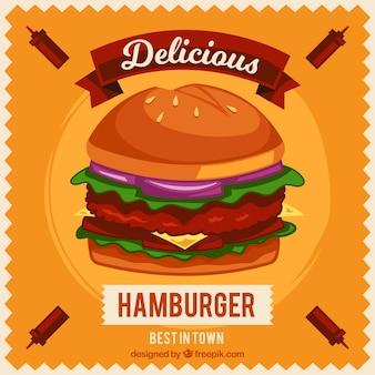 Fondo naranja con hamburguesa apetitosa