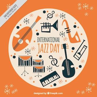 Fondo naranja de instrumentos de jazz
