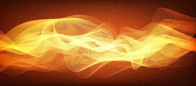 Fondo naranja de línea digital de sonido de onda