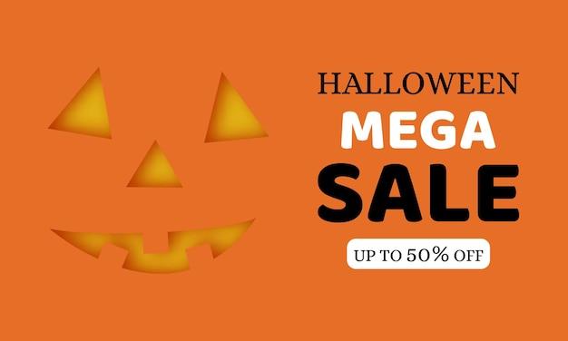 Fondo naranja de mega venta de halloween con cara de calabaza. ilustración vectorial.