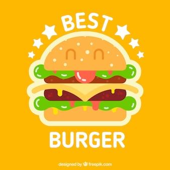 Fondo naranja con personaje de hamburguesa sonriente