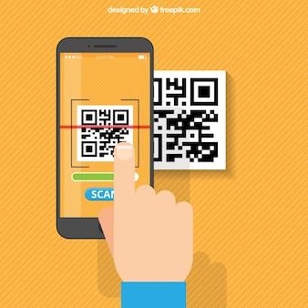 Fondo naranja de rayas de móvil escaneando código qr