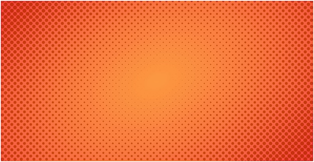 Fondo naranja rojo de semitono punteado o ilustración de telón de fondo degradado pop art