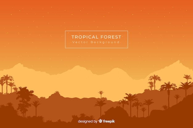 Fondo naranja con siluetas de bosque tropical