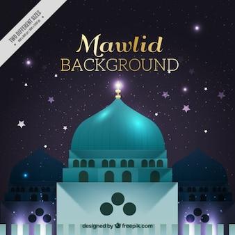 Fondo del natilicio del profeta mahoma con mezquita