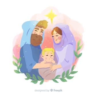 Fondo natividad dibujado a mano