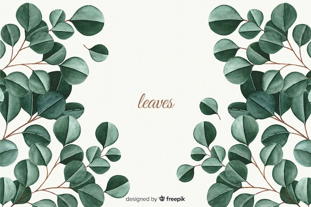 Fondo natural en acuarela con hojas