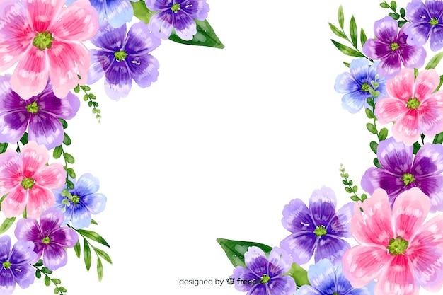 Fondo natural con flores coloridas en acuarela