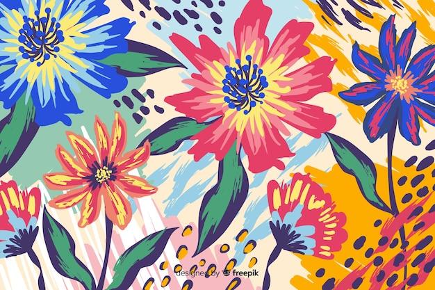 Fondo natural con flores coloridas pintadas