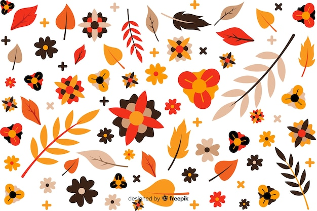 Fondo natural con flores dibujadas a mano