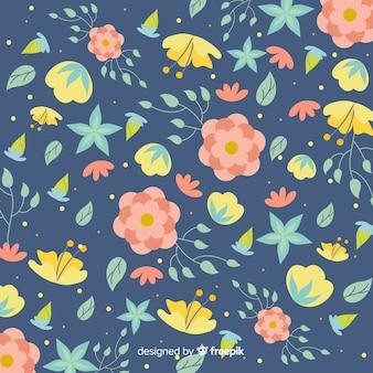 Fondo natural con flores en diseño plano